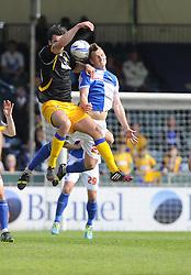 Bristol Rovers' Seanan Clucas battles for the high ball - Photo mandatory by-line: Joe Meredith/JMP - Mobile: 07966 386802 03/05/2014 - SPORT - FOOTBALL - Bristol - Memorial Stadium - Bristol Rovers v Mansfield - Sky Bet League Two