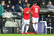 Manchester United forward Odion Ighalo (25) comes on in place of Manchester United forward Anthony Martial (9) during the Europa League match between Club Brugge and Manchester United at Jan Breydel Stadion, Brugge, Belguim on 20 February 2020.