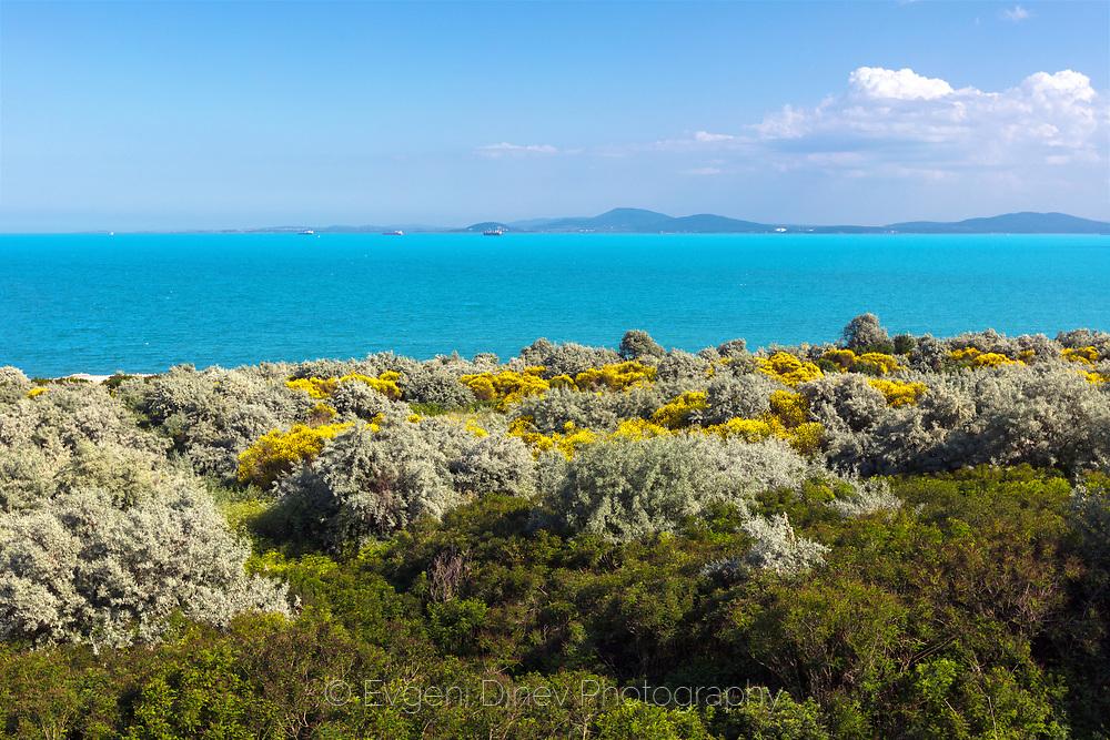 Azure colors of Black Sea in springtime