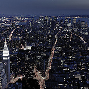Skyline of New York by night as seen from the Empire State Building.