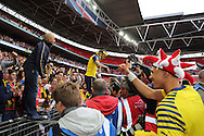 Arsenal's Jack Wilshere comes back from the fans during the The FA Cup match between Arsenal and Aston Villa at Wembley Stadium, London, England on 30 May 2015. Photo by Phil Duncan.