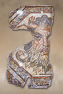 2nd century AD Roman mosaic depictiong Neptune. From Augusti (Sidi El Heni), Tunisia.  The Bardo Museum, Tunis, Tunisia. .<br /> <br /> If you prefer to buy from our ALAMY PHOTO LIBRARY  Collection visit : https://www.alamy.com/portfolio/paul-williams-funkystock/roman-mosaic.html - Type -   Bardo    - into the LOWER SEARCH WITHIN GALLERY box. Refine search by adding background colour, place, museum etc<br /> <br /> Visit our ROMAN MOSAIC PHOTO COLLECTIONS for more photos to download  as wall art prints https://funkystock.photoshelter.com/gallery-collection/Roman-Mosaics-Art-Pictures-Images/C0000LcfNel7FpLI
