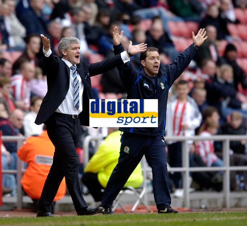 Photo: Jed Wee.<br />Sunderland v Blackburn Rovers. The Barclays Premiership. 25/03/2006.<br /><br />Blackburn manager Mark Hughes (L) and assistant Mark Bowen appeal a decision.