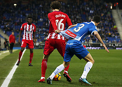 December 22, 2017 - Barcelona, Spain - Sime Vrsaljko and Aaron during the La Liga match between RCD Espanyol and Atletico de Madrid, in Barcelona, on December 22, 2017. Photo: Joan Valls/Urbanandsport/Nurphoto  (Credit Image: © Joan Valls/NurPhoto via ZUMA Press)