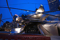 View of jay Pritzker Pavilion in Millennium Park in Chicago. Multicultural events are hosted here.