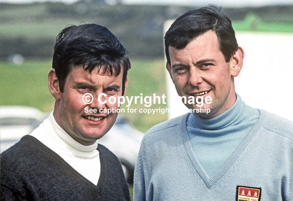 Top N Ireland amateur golfers, Brian Hoey, left, and brother, Michael Hoey, members, Shandon Park, Belfast.  Brian is the father of professional golfer, Michael Hoey, who turned pro after a successful amateur career. 196907000188a.<br /> <br /> Copyright Image from Victor Patterson, Belfast, UK<br /> <br /> t: +44 28 9066 1296 (from Rep of Ireland 048 9066 1296)<br /> m: +44 7802 353836<br /> <br /> victorpattersonbelfast@gmail.com<br /> www.victorpatterson.com<br /> <br /> Please see my Terms and Conditions of Use at https://www.victorpatterson.com/page2<br /> It is IMPORTANT that you familiarise yourself with them.<br /> <br /> Images used online incur an additional cost and must be visibly watermarked i.e. © Victor Patterson within the body of the image and copyright metadata must not be deleted. Images used on the Internet have a size restriction of 4kbs and are chargeable at rates available at victorpatterson.com.<br /> <br /> This image is only available for the use of the download recipient i.e. television station, newspaper, magazine, book publisher, etc, and must not be passed on to any third party. It is also downloaded on condition that each and every subsequent usage is notified within 7 days to victorpattersonbelfast@gmail.com<br /> <br /> The right of Victor Patterson to be identified as the author is asserted in accordance with The Copyright Designs And Patents Act (1988). All moral rights are asserted.