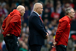 Head Coach Warren Gatland of Wales during the pre match warm up<br /> <br /> Photographer Simon King/Replay Images<br /> <br /> Six Nations Round 3 - Wales v England - Saturday 23rd February 2019 - Principality Stadium - Cardiff<br /> <br /> World Copyright © Replay Images . All rights reserved. info@replayimages.co.uk - http://replayimages.co.uk