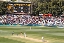 Australia's Mitchell Starc bowls Jonny Bairstow to win the 2nd test during day five of the Ashes Test match at the Adelaide Oval, Adelaide.