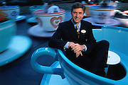 Paul S. Pressler, President of Walt Disney Attractions at the popular tea cups ride at Disney World in California.  Pressler is now CEO of the GAP