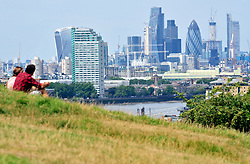© Licensed to London News Pictures.14/08/2017.<br /> GREENWICH,UK.<br /> A sunny weather day at Greenwich Park, Greenwich, London.<br /> View from Greenwich Park across London.<br /> Photo credit: Grant Falvey/LNP