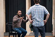 """Gavin Lawrence, left, discusses a scene with director John Langs during rehearsal for William Shakespeare's """"Twelfth Night"""" at American Players Theatre in Spring Green, WI on Thursday, May 16, 2019."""