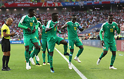 MOSCOW, June 19, 2018  Mbaye Niang (1st R) of Senegal celebrates scoring with teammates during a Group H match between Poland and Senegal at the 2018 FIFA World Cup in Moscow, Russia, June 19, 2018. (Credit Image: © Fei Maohua/Xinhua via ZUMA Wire)
