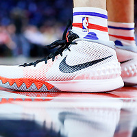 16 December 2015: Close view of Los Angeles Clippers guard J.J. Redick (4) Nike Kyrie Irving 1 shoes during the Los Angeles Clippers 103-90 victory over the Milwaukee Bucks, at the Staples Center, Los Angeles, California, USA.