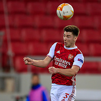 PIRAEUS, GREECE - FEBRUARY 25: Kieran Tierney of Arsenal FC during the UEFA Europa League Round of 32 match between Arsenal FC and SL Benfica at Karaiskakis Stadium on February 25, 2021 in Piraeus, Greece. (Photo by MB Media)