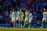 Celtic leave the park having thanked their fans during the Ladbrokes Scottish Premiership match between Rangers and Celtic at Ibrox, Glasgow, Scotland on 12 May 2019.