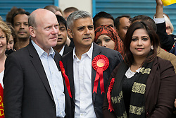 © Licensed to London News Pictures. 30/05/2015. London, UK. Sadiq Khan (centre) joins John Biggs (left), Sabina Akhtar (right) and Labour Party activists in Stepney, Tower Hamlets in east London to support canvassing for John Biggs to become Tower Hamlets Mayor. The Tower Hamlets Mayoral election will be re-run on 11th June after a High Court election petition found the previously elected mayor, Lutfur Rahman guilty of corrupt and illegal practices. Photo credit : Vickie Flores/LNP