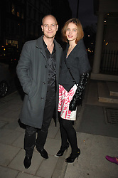 The HON.JUSTIN PORTMAN and his wife NATALIA VODIANOVA at an exhibition of paintings by artist Rene Richard at the Scream Gallery, Bruton Street, London on 3rd April 2008.<br /><br />NON EXCLUSIVE - WORLD RIGHTS