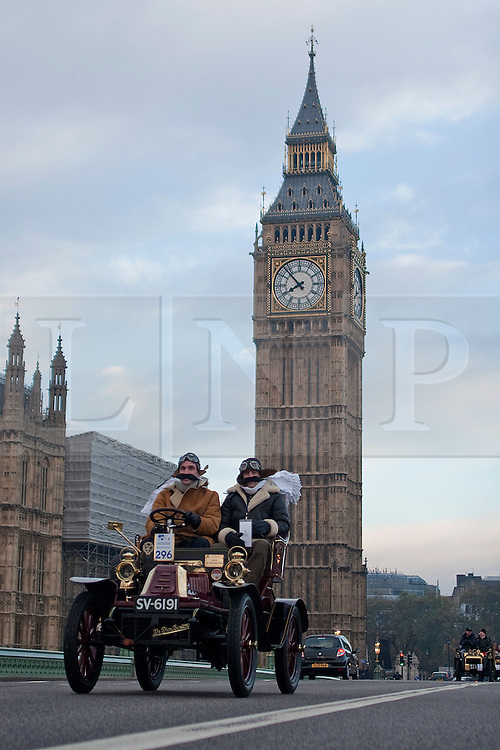 © under license to London News Pictures. 07/11/10. Pre 1905 four-wheeled cars, tricars and motor tricycles take part in the 77th London to Brighton Veteran Car Run (LBVCR). Representing 24 nations, 572 entries were received for this year's LBVCR, the world's longest running motoring event.