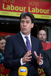 © Licensed to London News Pictures . 14/02/2014 . Manchester , UK . Labour Party leader ED MILIBAND speaks . The Labour Party hold a victory event to celebrate their win in the Wythenshawe and Sale East by-election at Wythenshawe Sports Club this morning (14th February 2014) . Photo credit : Joel Goodman/LNP