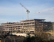 Construction site with cranes, Bath, England