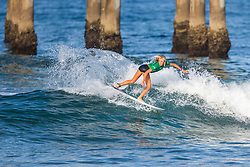 Valentina Resano (USA)  advances to the Quarterfinals of the 2918 Junior Women's VANS US Open of Surfing after winning Heat 2 of Round 1 at Huntington Beach, CA, USA.