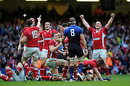 Wales players celebrate at the end of the match, after their win. RBS Six nations 2012, Wales v France at the Millennium Stadium in Cardiff, South Wales on Saturday 17th March 2012.  pic by Andrew Orchard, Andrew Orchard sports photography,