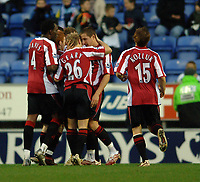 Photo: Paul Greenwood.<br />Wigan Athletic v Sheffield United. The Barclays Premiership. 16/12/2006. Sheffield United players celebrate Rob Hulse's goal
