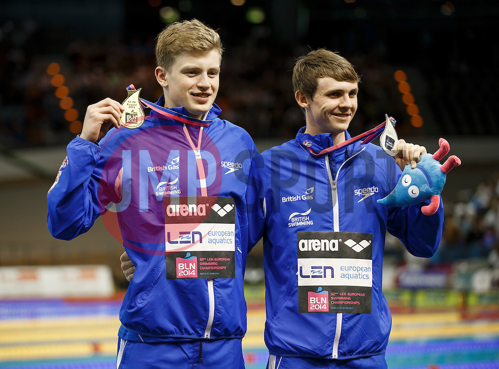 Adam Peaty and Ross Murfoch of Great Britain pose with their Gold and Siver Medals respectively from the Mens 100m Breaststroke Final - Photo mandatory by-line: Rogan Thomson/JMP - 07966 386802 - 19/08/2014 - SPORT - SWIMMING - Berlin, Germany - Velodrom im Europa-Sportpark - 32nd LEN European Swimming Championships 2014 - Day 7.