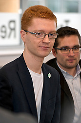 Pictured: Terry Reintke (blue hoodie); Ross Greer (glasses and ginger hair), Patricia Santana Ramirez (Striped shirt) and Alison Johnstone (blue jacket)<br /> <br /> German politician Terry Reintke, MEP, joined Scottish Greens education spokesman Ross Greer and Greens MSP colleague Alison Johnstone today on a visit to West Lothian College to discuss the potential impact of Brexit on the Erasmus+ programme for students. All the polliticians met Patricia Santana Ramirez from Spain who is concerned over the uncertainty the Brexit negotiations will have on the Eurasmus + programme<br /> <br /> Ger Harley | EEm 22 March 2019
