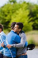 17-05-2015 NGF Competitie 2015, Hoofdklasse Heren - Dames Standaard - Finale, Golfsocieteit De Lage Vuursche, Den Dolder, Nederland. 17 mei. Heren Noordwijkse: Max Albertus en zijn broer Job tijdens de singles.