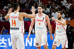 Willy Hernangomez of Spain, Pau Gasol of Spain and Sergio Rodriguez of Spain celebrate during basketball match between National Teams of Spain and Turkey at Day 11 in Round of 16 of the FIBA EuroBasket 2017 at Sinan Erdem Dome in Istanbul, Turkey on September 10, 2017. Photo by Vid Ponikvar / Sportida