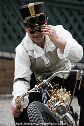 Peter Forsberg with his compressed air powered 880 cc 43 degree V-Twin custom at the Twin Club's annual Custom Bike Show in Norrtälje, Sweden. Saturday, June 1, 2019. Photography ©2019 Michael Lichter.