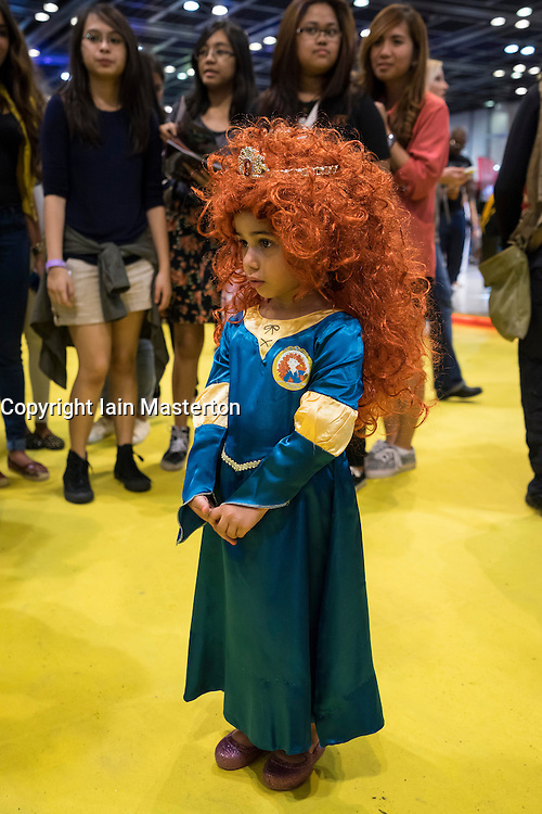 Dubai, 4th April 2014; Girl dressed as Merida from movie Brave at the  2014 Middle East Film and Comic Con at World Trade Centre in Dubai United Arab Emirates