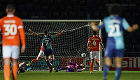 Wycombe Wanderers' Alex Samuel (right)  beats Blackpool's Mark Howard to make it 2-0 in the 9th minute<br /> <br /> Photographer Lee Parker/CameraSport<br /> <br /> The EFL Sky Bet League One - Wycombe Wanderers v Blackpool - Tuesday 28th January 2020 - Adams Park - Wycombe<br /> <br /> World Copyright © 2020 CameraSport. All rights reserved. 43 Linden Ave. Countesthorpe. Leicester. England. LE8 5PG - Tel: +44 (0) 116 277 4147 - admin@camerasport.com - www.camerasport.com