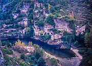 Hamlet of Castelbouc Gorges du Tarn, River Tarn gorge, Cevennes national park, France 1987