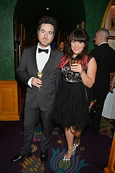 Comedian VIKKI STONE and TIM EVANS at a dinner to celebrate the 125th anniversary of the Dog's Trust held at Annabel's, Berkeley Square, London on 1st November 2016.