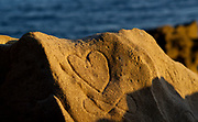 Heart Carved on a Sandstone Rock