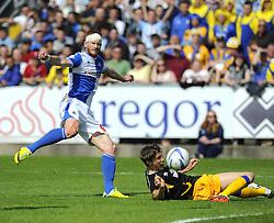 Bristol Rovers' Matt Harrold goes close with a shot across goal - Photo mandatory by-line: Joe Meredith/JMP - Mobile: 07966 386802 03/05/2014 - SPORT - FOOTBALL - Bristol - Memorial Stadium - Bristol Rovers v Mansfield - Sky Bet League Two