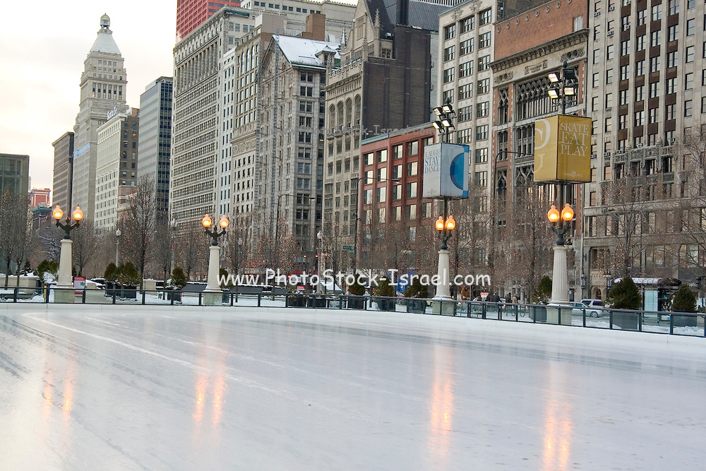 Chicago Illinois USA, Ice skating at Millennium park, downtown Chicago The empty ice surface December 2006