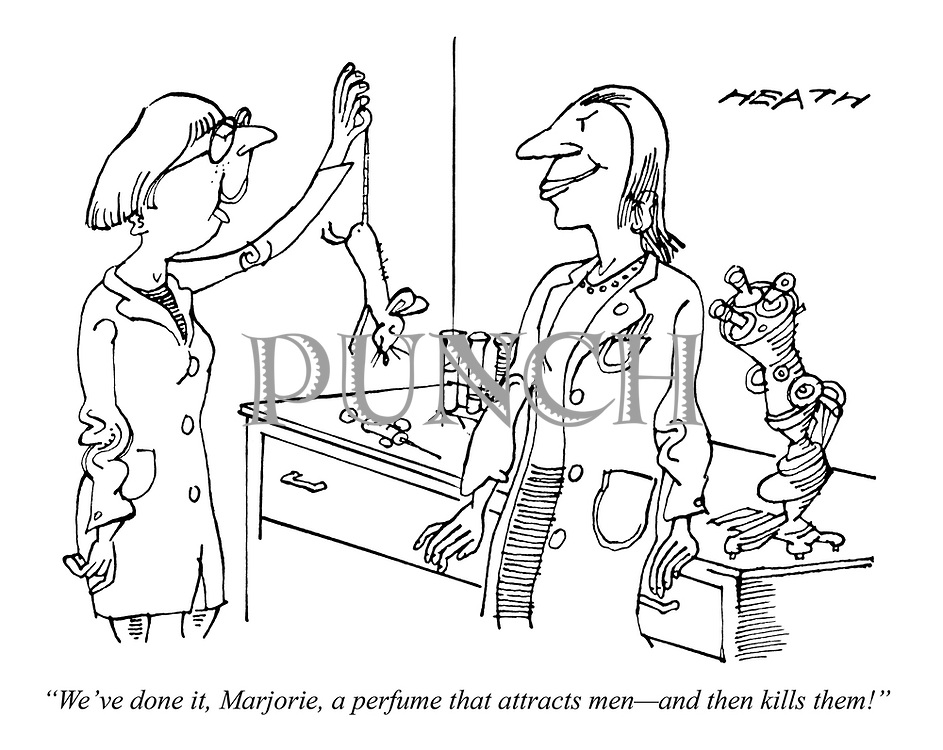 """""""We've done it, Marjorie, a perfume that attracts men - and then kills them!"""""""