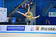 Serdyukova Anastasiya during qualifying clubs at the Pesaro World Cup April 2, 2016. Anastasiya is an Azerbaijani individual rhythmic gymnast, she was born in May 29, 1997 Tashkent, Uzbekistan.  Her goal is to compete at the 2020 Olympic Games in Tokyo.