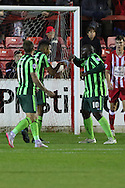 Lyle Taylor of AFC Wimbledon celebrates his equaliser during the Sky Bet League 2 match between Accrington Stanley and AFC Wimbledon at the Fraser Eagle Stadium, Accrington, England on 20 October 2015. Photo by Stuart Butcher.