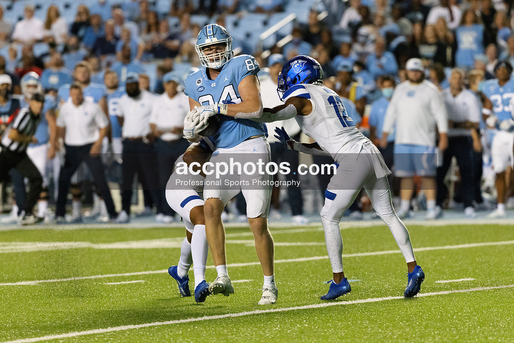 CHAPEL HILL, NC - SEPTEMBER 11: Garrett Walston #84 of the North Carolina Tar Heels plays during a game against the Georgia State Panthers on September 11, 2021 at Kenan Stadium in Chapel Hill, North Carolina. North Carolina won 59-17. (Photo by Peyton Williams/Getty Images) *** Local Caption *** Garrett Walston