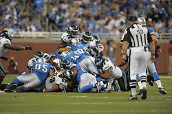 DETROIT - SEPTEMBER 19: The Philadelphia Eagles defense make a fourth down stop during the game against the Detroit Lions on September 19, 2010 at Ford Field in Detroit, Michigan. (Photo by Drew Hallowell/Getty Images)  *** Local Caption ***