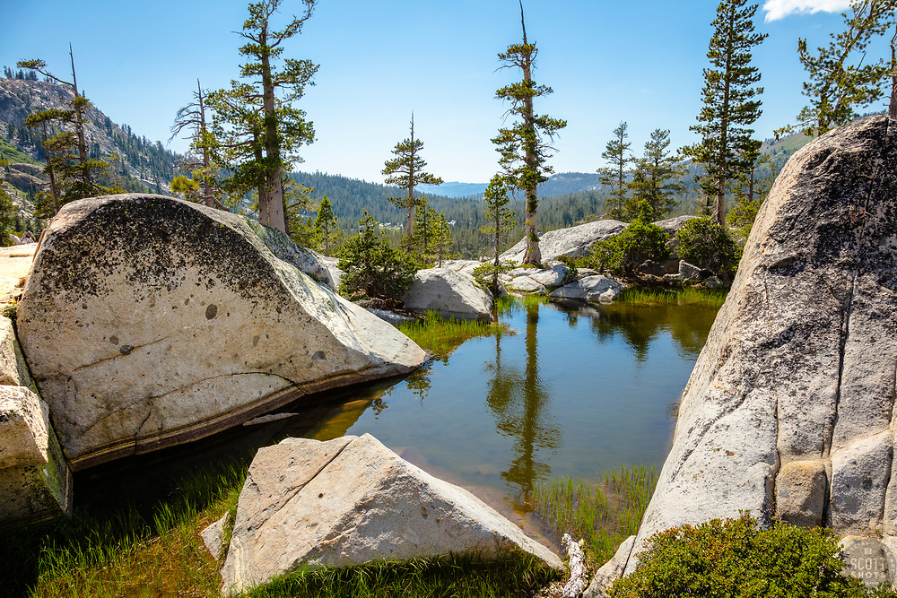 """""""Pond in the Tahoe Back Country 1"""" - Photograph of a little pond with a great vista view, shot near Paradise Lake."""