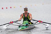 Poznan, POLAND, 21st June 2019, Friday, Morning Heats, AUS PR M1X, Erik HORRIE,   FISA World Rowing Cup II, Malta Lake Course, © Peter SPURRIER/Intersport Images,<br /> <br /> 09:00:01