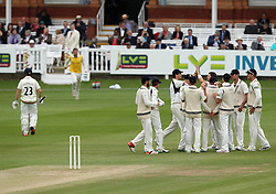 Durham celebrate the wicket of Durham's Mark Stoneman - Photo mandatory by-line: Robbie Stephenson/JMP - Mobile: 07966 386802 - 04/05/2015 - SPORT - Football - London - Lords  - Middlesex CCC v Durham CCC - County Championship Division One