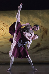 "© Licensed to London News Pictures. 18/11/2014. London, England. Luke Ahmet and Adam Blyde performing Terra Incognita choreographed by Shobana Jeyasingh. British dance company ""Rambert"" perform their new show ""Triptych"" at Sadler's Wells Theatre from 18 to 22 November 2014. Choreographed by Shobana Jeyasingh with Luke Ahmet, Lucy Balfour, Adam Blyde, Carolyn Bolton, Simone Damberg Würtz, Dane Hurt, Vanessa King, Adam Park, Hannah Rudd and Pierre Tappon dancing. Photo credit: Bettina Strenske/LNP"