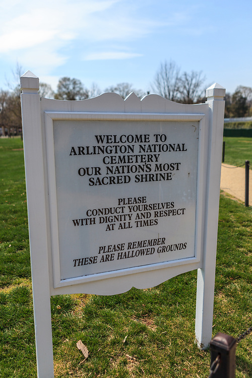Washington, DC, USA - April 11, 2013: Informational Sign at the Arlington National Cemetery.