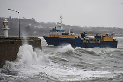 © Licensed to London News Pictures.03/02/2017. Isles of Scilly Ferry braves rough waters as Waves batter the coastline at  Penzance in Cornwall as the unofficially named storm DORIS hits the UK coast. Photo credit : Mark Hemsworth/LNP
